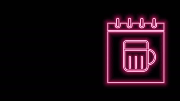 Zářící neonový řádek Saint Patricks den s ikonou kalendáře izolované na černém pozadí. Čtyřlístek jetele. Datum 17. března. Grafická animace pohybu videa 4K