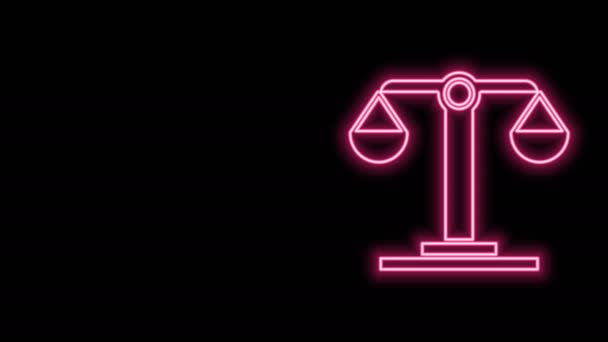 Glowing neon line Libra zodiac sign icon isolated on black background. Astrological horoscope collection. 4K Video motion graphic animation