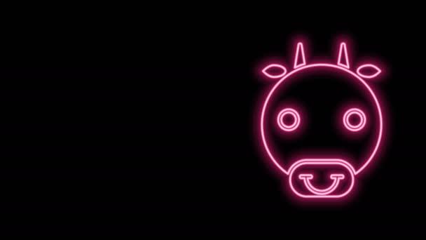Leuchtende Leuchtschrift Ox Sternzeichen Symbol isoliert auf schwarzem Hintergrund. Astrologische Horoskopsammlung. 4K Video Motion Grafik Animation