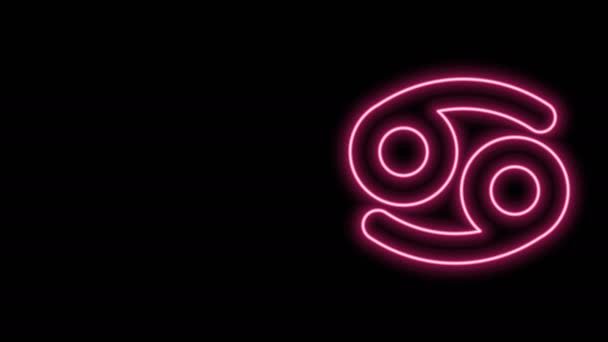 Glowing neon line Cancer zodiac sign icon isolated on black background. Astrological horoscope collection. 4K Video motion graphic animation