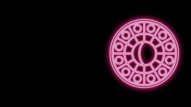 Leuchtende Neon-Linie Astrologie Horoskopkreis mit Tierkreiszeichen isoliert auf schwarzem Hintergrund. 4K Video Motion Grafik Animation