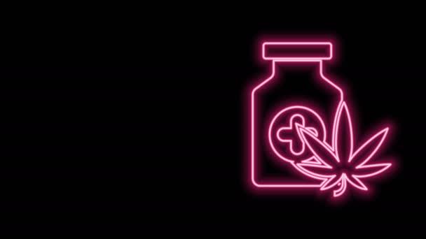 Világító neon vonal Orvosi palack marihuána vagy cannabis levél ikon izolált fekete alapon. Kannabiszolaj kivonatok üvegekben. 4K Videó mozgás grafikus animáció
