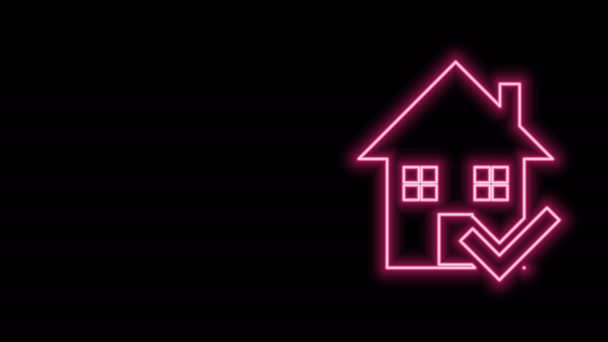 Glowing neon line House with check mark icon isolated on black background. Real estate agency or cottage town elite class. 4K Video motion graphic animation