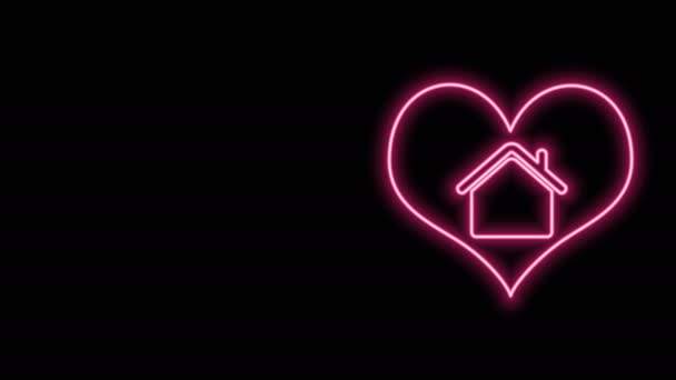 Glowing neon line House with heart shape icon isolated on black background. Love home symbol. Family, real estate and realty. 4K Video motion graphic animation
