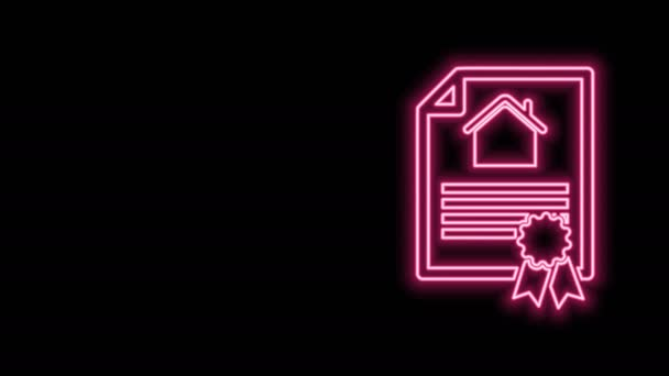 Glowing neon line House contract icon isolated on black background. Contract creation service, document formation, application form composition. 4K Video motion graphic animation