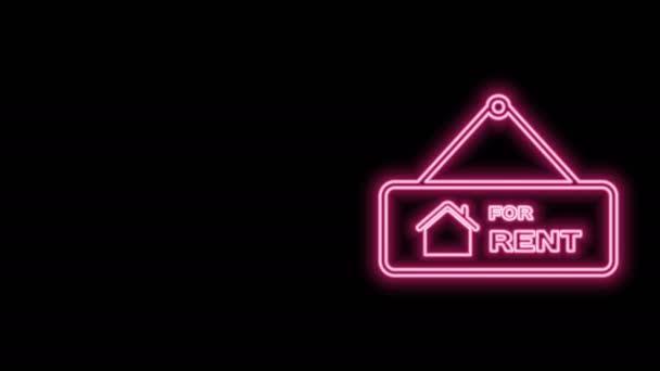 Zářící neonová čára Závěsná cedule s textem Na pronájem ikona izolovaná na černém pozadí. Nástěnka s textem K pronájmu. Grafická animace pohybu videa 4K