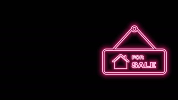 Zářící neonová čára Závěsná značka s textem Ikona Na prodej izolovaná na černém pozadí. Nástěnka s textem Na prodej. Grafická animace pohybu videa 4K
