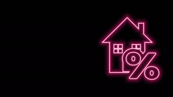 Žhnoucí neonovou linku Dům s výraznou ikonu slevové značky izolované na černém pozadí. Procentuální cena domu. Realitní dům. Symbol procenta kreditu. Grafická animace pohybu videa 4K