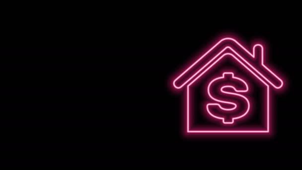 Zářící neonová čára Dům s ikonou symbolu dolaru izolované na černém pozadí. Domov a peníze. Koncept nemovitostí. Grafická animace pohybu videa 4K