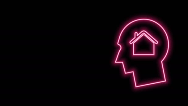 Glowing neon line Man dreaming about buying a new house icon isolated on black background. 4K Video motion graphic animation