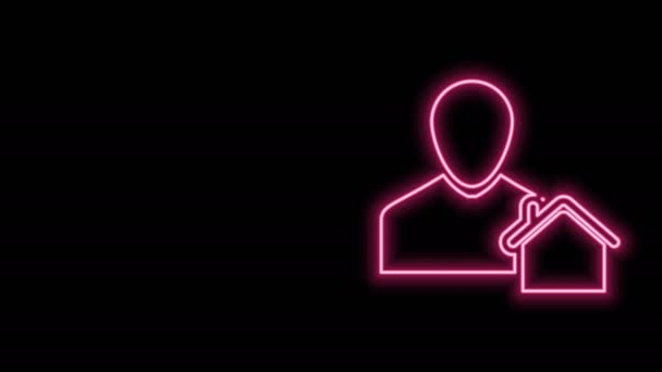 Glowing neon line Realtor icon isolated on black background. Buying house. 4K Video motion graphic animation