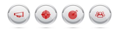 Set line Megaphone, Target sport, with arrow and Users group. Silver circle button. Vector. icon