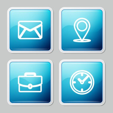 Set line Envelope, Map pin, Briefcase and Clock icon. Vector. icon