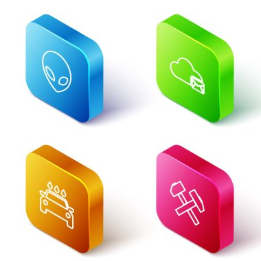 Set Isometric line Alien, Cloud mail server, Car wash and Two crossed hammers icon. Vector. icon