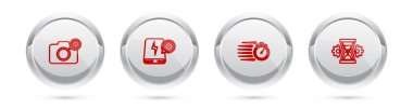 Set line Photo camera setting, Power bank, Stopwatch and Hourglass. Silver circle button. Vector. icon