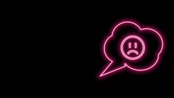 Glowing neon line Speech bubble with sad smile icon isolated on black background. Emoticon face. 4K Video motion graphic animation