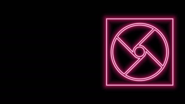 Ragyogó neon vonal Szellőzés ikon elszigetelt fekete háttérrel. 4K Videó mozgás grafikus animáció