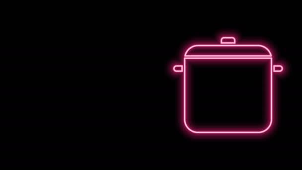 Žhnoucí neonová čára Ikona hrnce na vaření izolované na černém pozadí. Vařit nebo dušené jídlo symbol. Grafická animace pohybu videa 4K