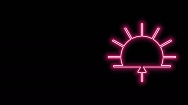 Glowing neon line Sunrise icon isolated on black background. 4K Video motion graphic animation
