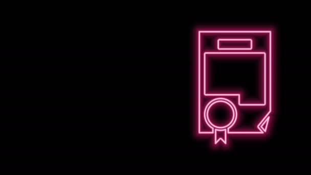 Žhnoucí neonový řádek Ikona certifikátu izolovaná na černém pozadí. Úspěch, vyznamenání, titul, grant, diplom. Certifikát obchodního úspěchu. Grafická animace pohybu videa 4K