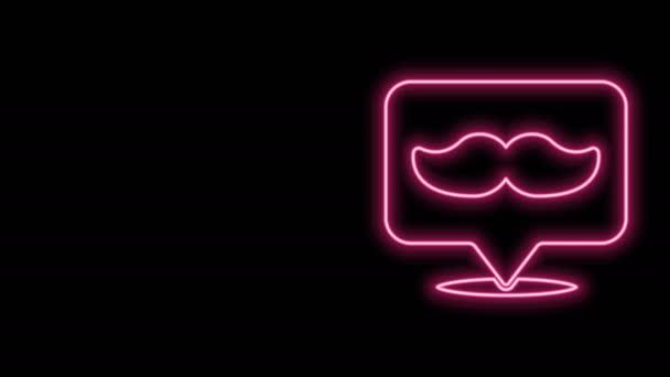 Ragyogó neon vonal Barbershop ikon elszigetelt fekete háttérrel. Fodrászlogó vagy cégtábla. 4K Videó mozgás grafikus animáció