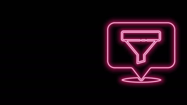 Izzó neon vonal Helyszín értékesítési tölcsér ikon elszigetelt fekete háttér. Infografikus sablon. 4K Videó mozgás grafikus animáció