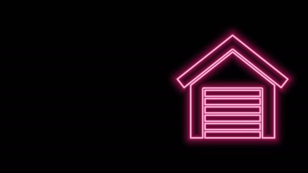 Leuchtende Leuchtschrift Garage Symbol isoliert auf schwarzem Hintergrund. 4K Video Motion Grafik Animation
