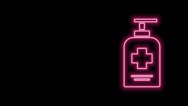 Ragyogó neon vonal Folyékony antibakteriális szappan palack adagoló ikonnal, fekete alapon izolálva. Fertőtlenítő. Fertőtlenítés, higiénia, bőrápolás. 4K Videó mozgás grafikus animáció