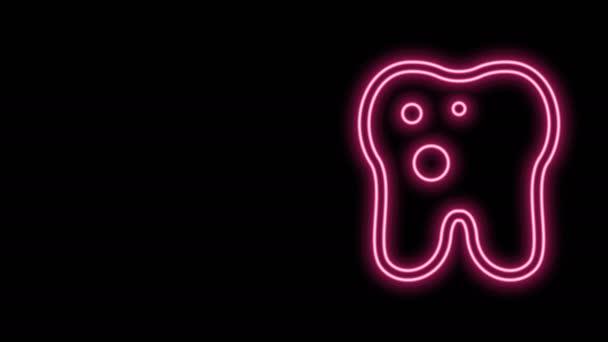 Leuchtende Neon-Linie Zahn mit Kariessymbol isoliert auf schwarzem Hintergrund. Karies. 4K Video Motion Grafik Animation