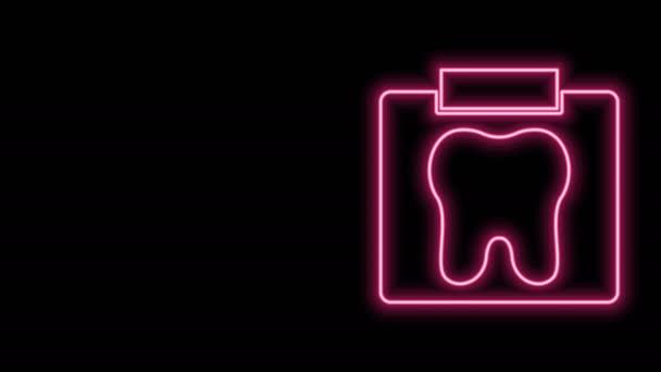 Leuchtendes Röntgenbild des Zahnsymbols auf schwarzem Hintergrund. Zahnröntgen. Bild der Radiologie. 4K Video Motion Grafik Animation