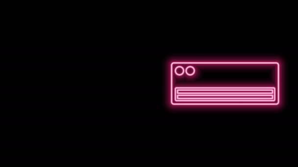 Leuchtende Leuchtschrift Klimaanlage Symbol isoliert auf schwarzem Hintergrund. Split-System-Klimaanlage. Kühle und kalte Klimaanlage. 4K Video Motion Grafik Animation