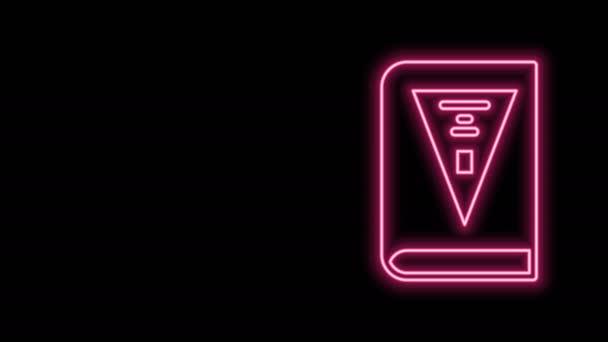 Zářící neonové linie 26. listopadu india konstituční den ikona izolované na černém pozadí. Grafická animace pohybu videa 4K