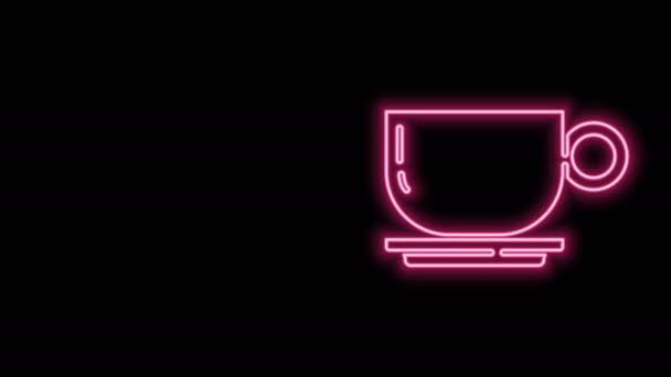 Glowing neon line Coffee cup icon isolated on black background. Tea cup. Hot drink coffee. 4K Video motion graphic animation