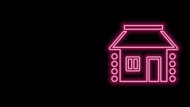 Ragyogó neon vonal Régi ukrán ház kunyhó ikon elszigetelt fekete háttérrel. Hagyományos falusi ház. 4K Videó mozgás grafikus animáció