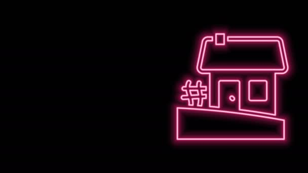 Glowing neon line Old Ukrainian house hut icon isolated on black background. Traditional village house. 4K Video motion graphic animation
