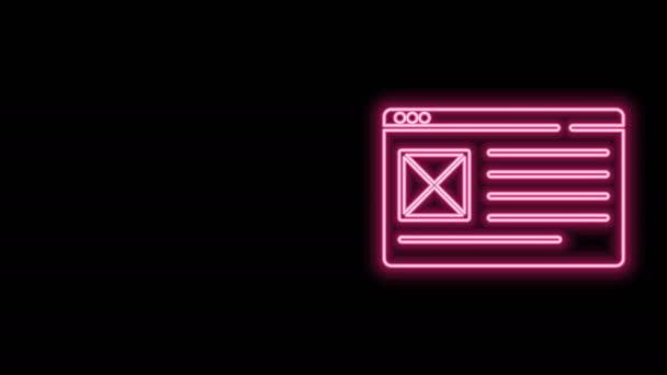Zářící neonová čára Ikona okna prohlížeče izolovaná na černém pozadí. Grafická animace pohybu videa 4K