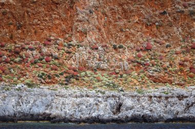 Rocky seashore of Gramvousa Peninsula on the Crete Island in Greece