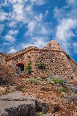 Ruins of Venetian fort on Imeri Gramvousa Island near island of Crete, Greece