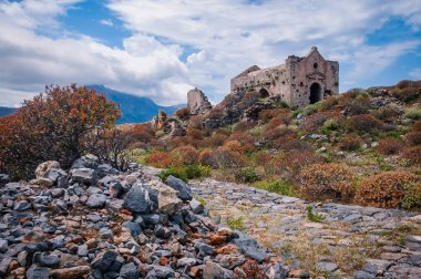 Ruins of Agios Georgios church in Venetian fort on Imeri Gramvousa Island near island of Crete, Greece
