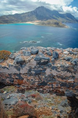 Imeri Gramvousa Island near island of Crete, Greece - view with Balos Lagoon and Tigani Rock on background