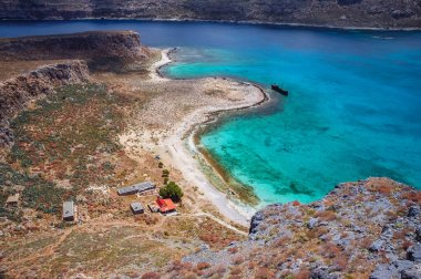 View from the top of Imeri Gramvousa Island near island of Crete, Greece