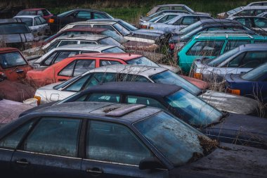 Car cemetery in Moravian Silesian Region of Czech Republic