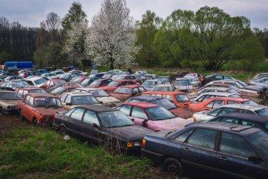 Car cemetery in Moravian Silesian Region of Czech Republic