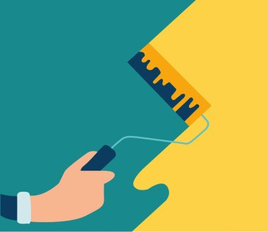 Vector illustration, repair in appartment, hands worker hold repair tool, repair wall. Concept banner or illustration