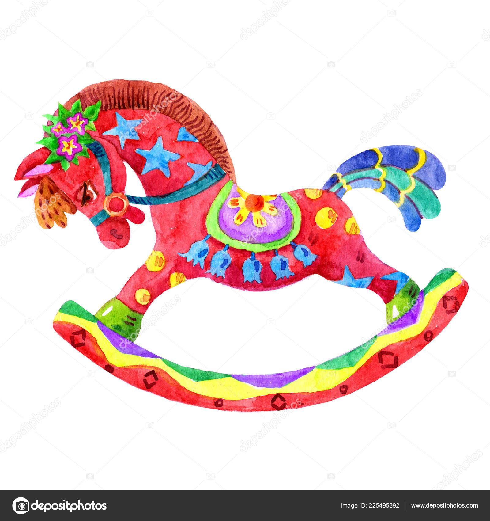 Cute Cartoon Watercolor Rocking Horse Isolated White Background