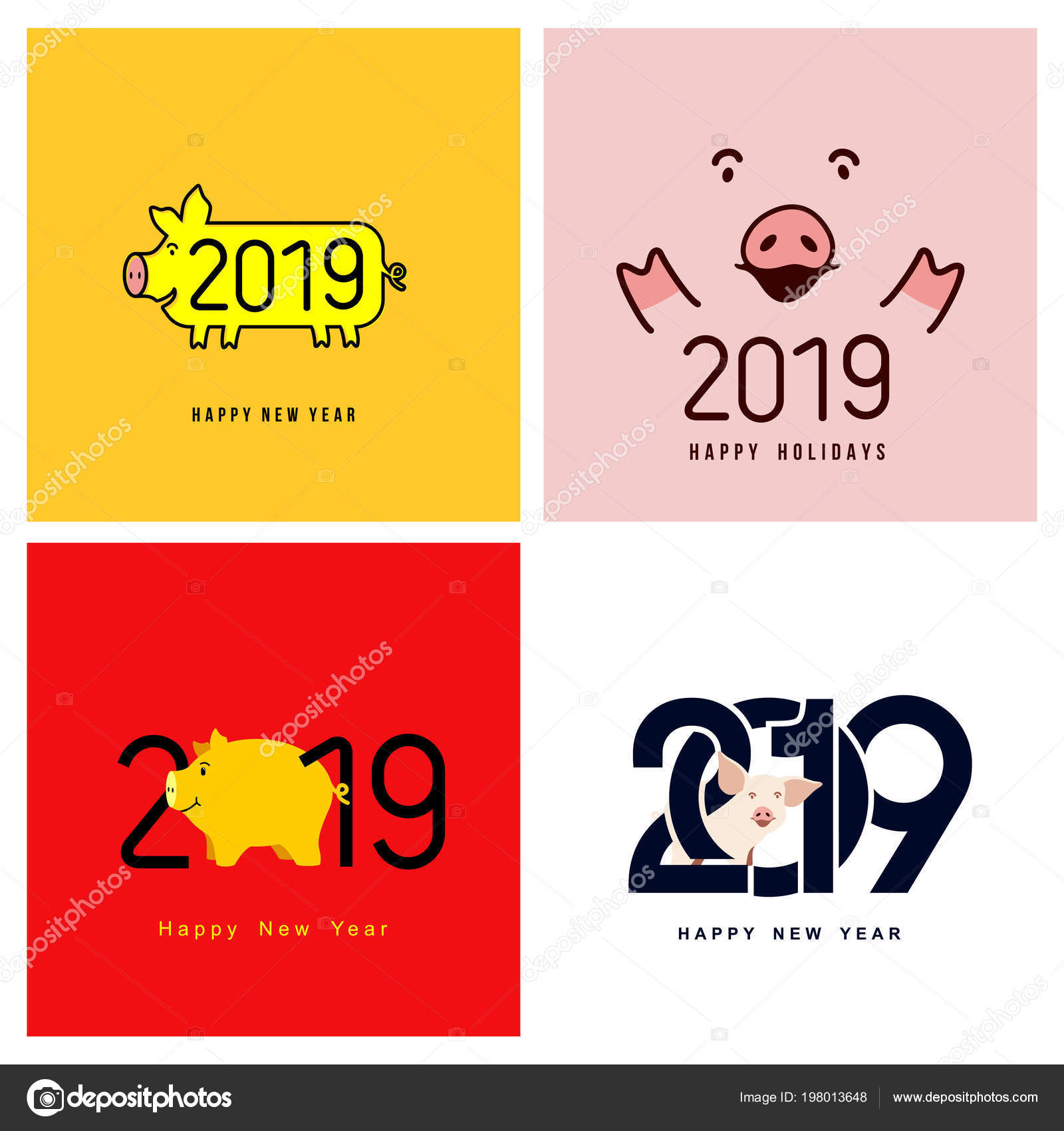 happy new year set cute funny pig chinese symbol 2019 stock vector