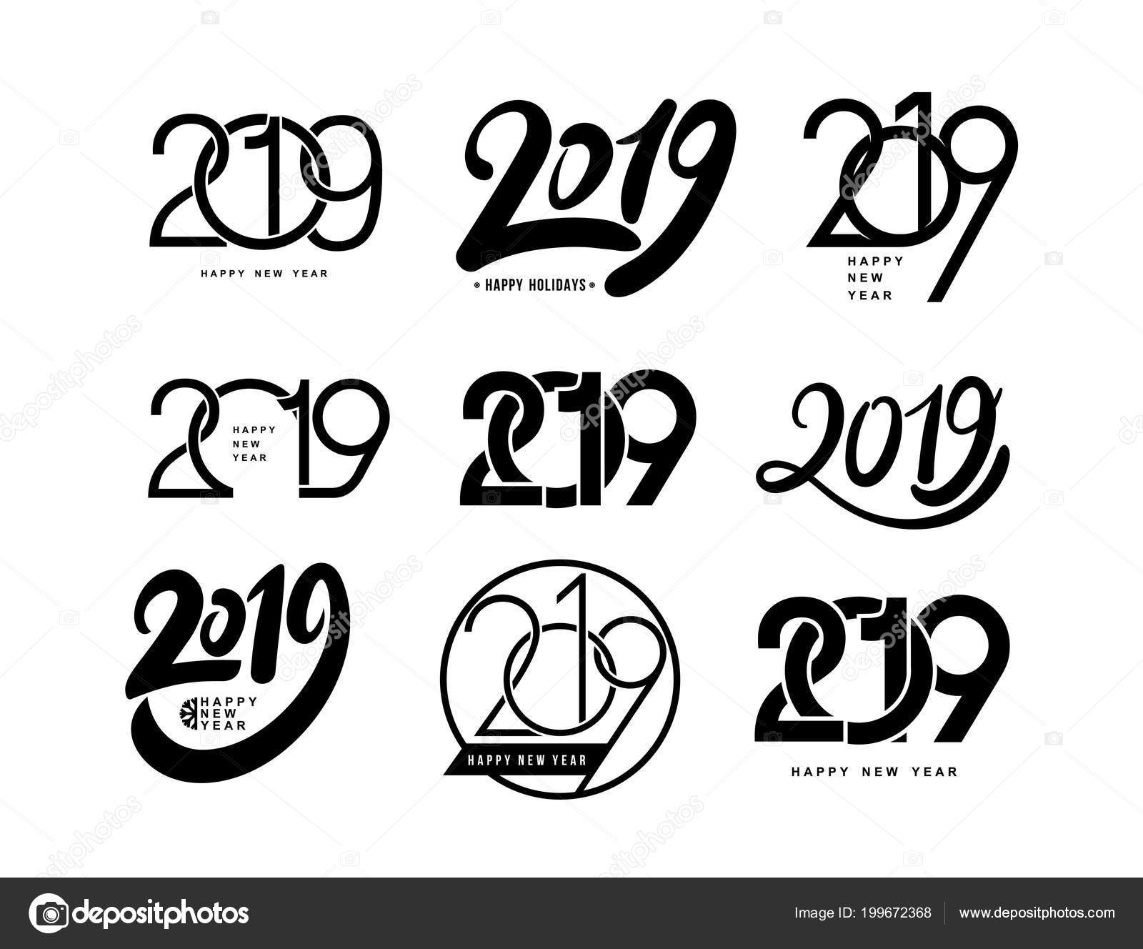 Collection Happy New Year Happy Holidays Set 2019 Text Design ...