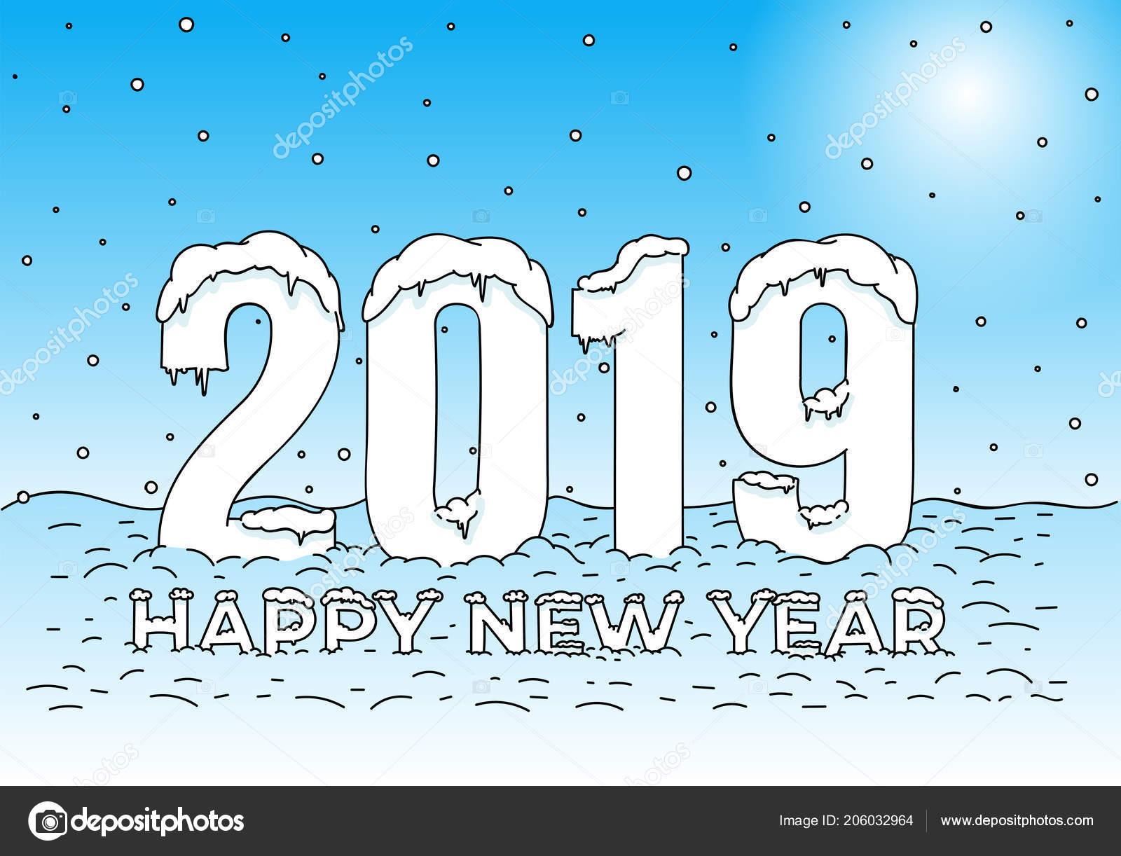 Kleurplaten Nieuwjaar 2019.Gelukkig Nieuwjaar Sneeuw Caps Cijfers Letters Kleurplaat 2019 Tekst