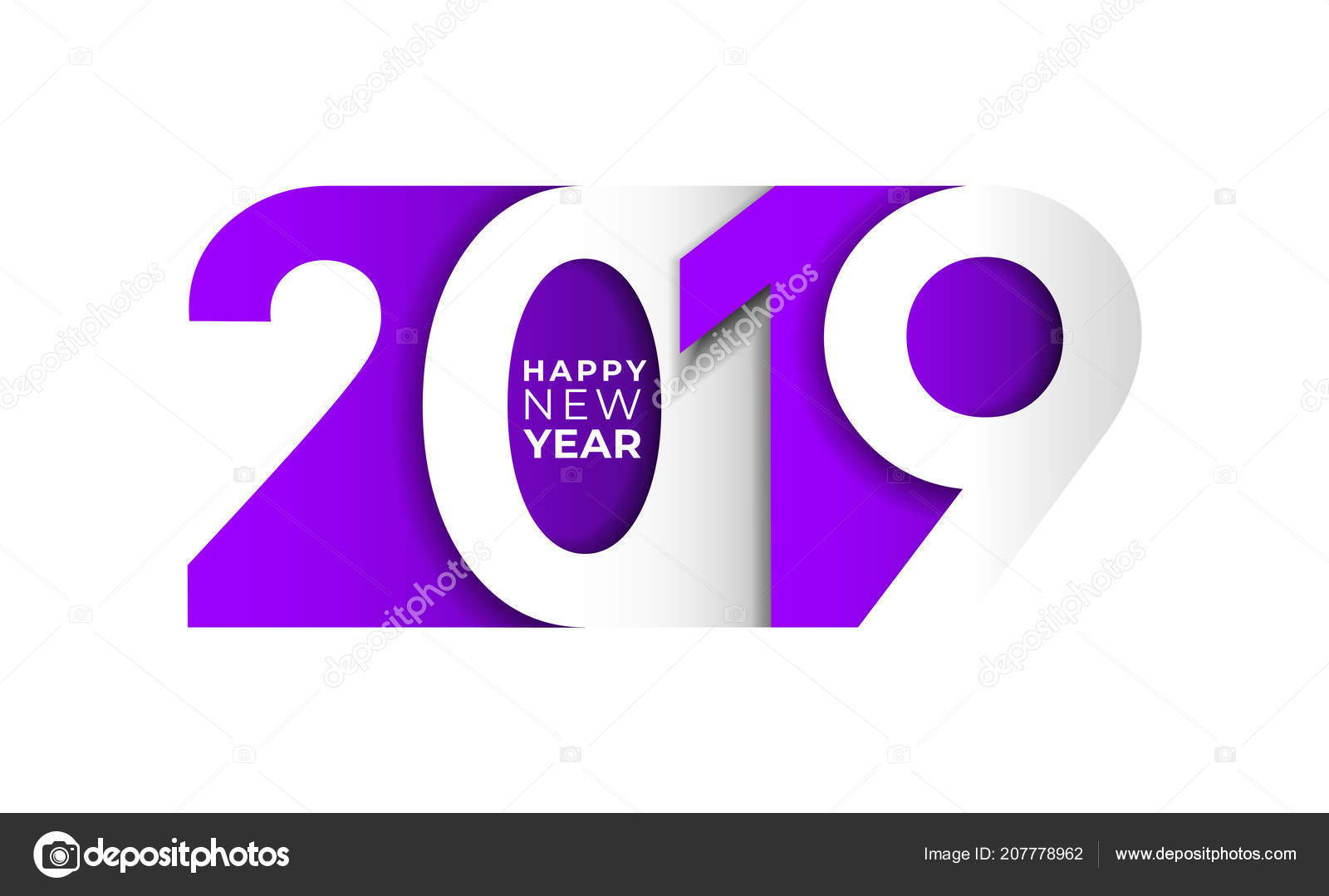 happy new year 2019 purple number text design typography pattern stock vector