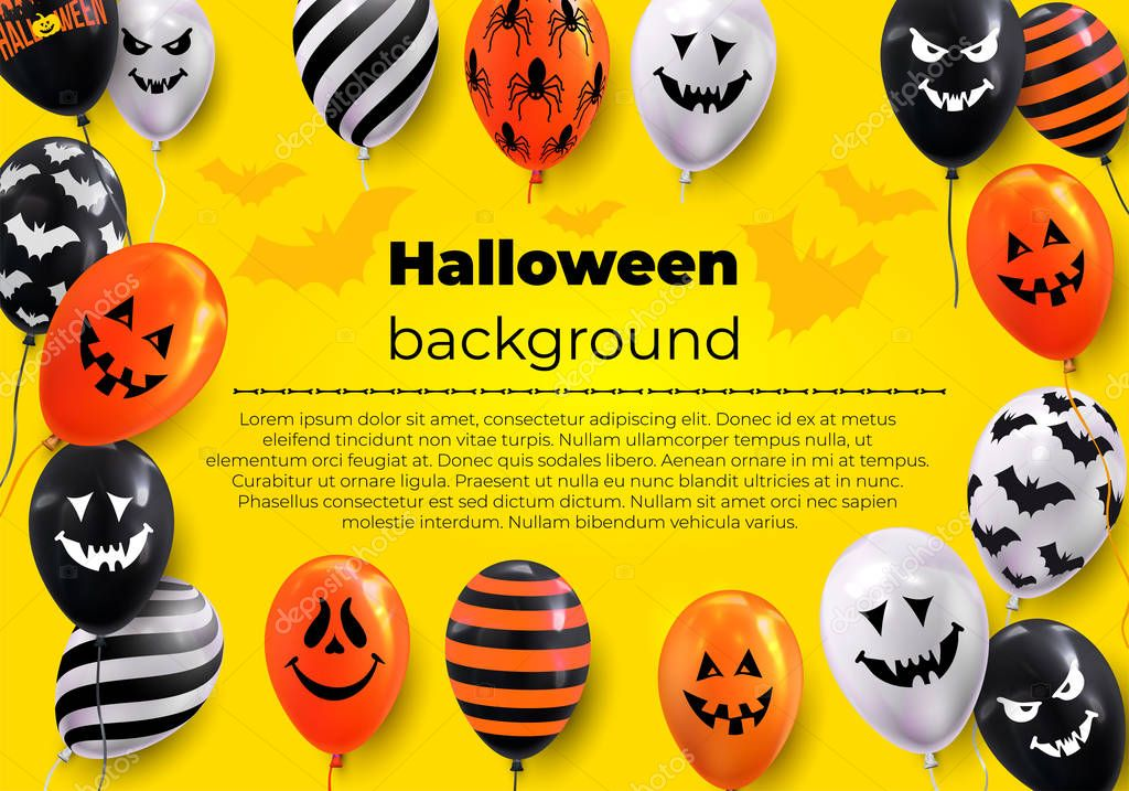 Happy Halloween Text Design Banner Ghost Balloons Scary Air Balloons Vector Illustration Isolated On Yellow Background Premium Vector In Adobe Illustrator Ai Ai Format Encapsulated Postscript Eps Eps Format